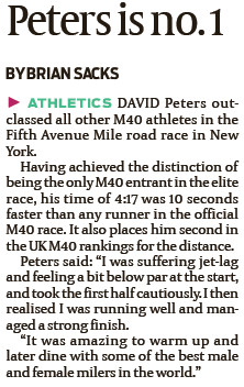David Peters  in the Fifth Avenue Mile - JC 19-10-12